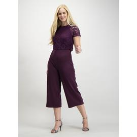 Online Exclusive Purple Double Layer Lace Jumpsuit