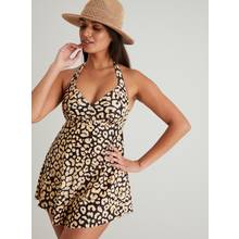 Leopard Print Halterneck Swim Dress