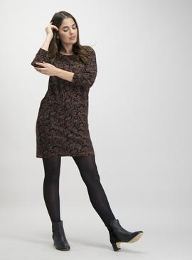 Online Exclusive Black & Brown Brushed Paisley Shift Dress
