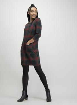 Multicoloured Tartan Brushed Check Shift Dress