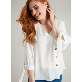 White Asymmetrical Button Blouse
