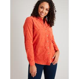 Orange Floral Embroidery Corduroy Shirt
