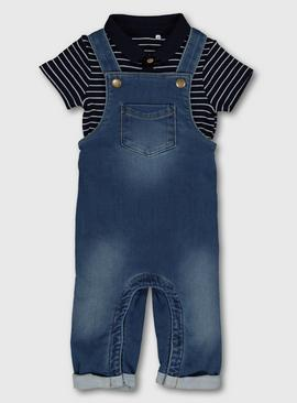 Denim Dungarees & Striped Polo Bodysuit