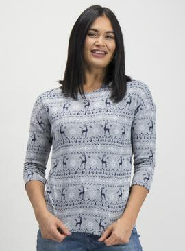 Christmas Multicoloured Reindeer Fair Isle Knitted Jumper