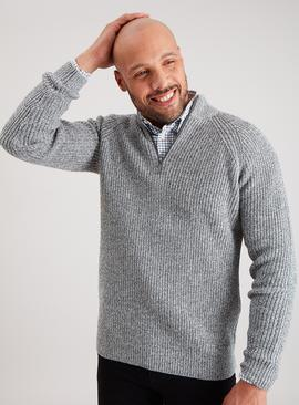 Grey Twist Knit Half Zip Jumper