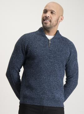 Blue Twist Knit Half Zip Jumper