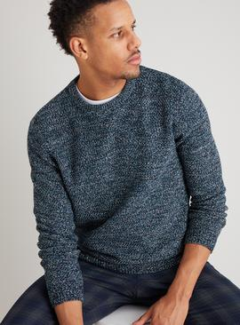 Navy Twist Knit Jumper