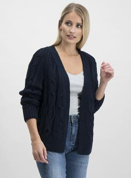 Navy Cable Detail Cardigan