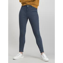 Blue Pin Striped Skinny Jeans With Stretch