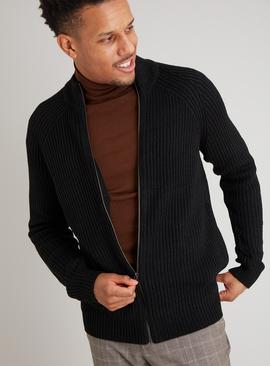 Black Zip Through Cardigan
