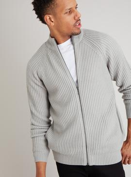 Grey Zip-Through Cardigan