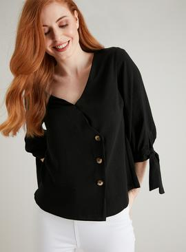 Black Asymmetrical Button Blouse