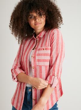 Red Deckchair Stripe Shirt With Linen