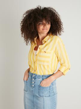 Yellow Deckchair Stripe Shirt With Linen