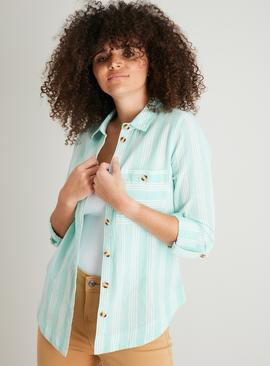 Mint Green Deckchair Stripe Shirt With Linen