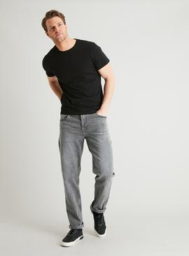Light Grey Denim Textured Wash Straight Leg Jeans