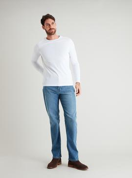 Light Straight Leg Denim Jeans With Stretch