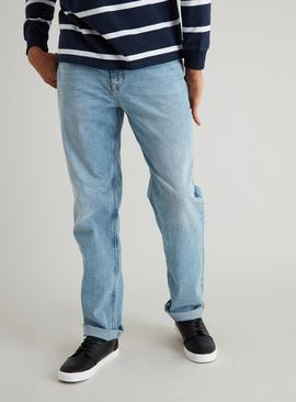 Light Wash Straight Leg Denim Jeans With Stretch