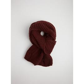 Berry Red Cable Knitted Scarf - One Size