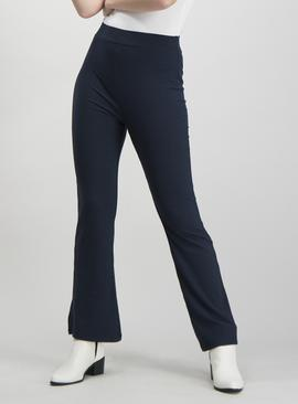 Navy Ribbed Kick Flare Trousers
