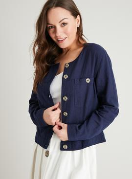 Navy Cropped Button-Through Jacket