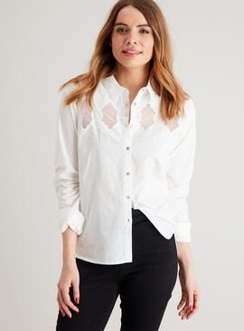 White Embroidered Mesh Panel Western Shirt