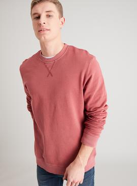 Dark Pink Washed Crew Neck Sweatshirt