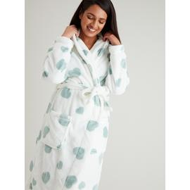 Cream & Green Heart Print Dressing Gown
