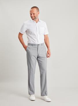 Grey Micro Dogtooth Tailored Fit Trousers