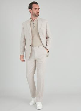 Stone Linen-Rich Tailored Fit Suit Trousers