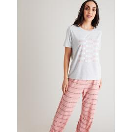 Grey & Pink Love Heart Pyjamas