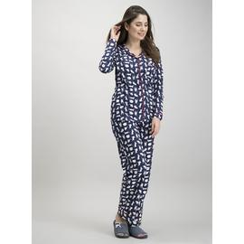 Navy Cat Print Traditional Pyjamas