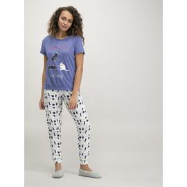 Blue & White Cat Print Pyjamas