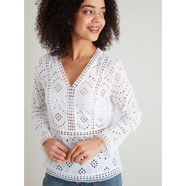 White Schiffli Lace V-Neck Blouse