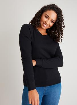Black Crew Neck Boxy Pure Cotton Sweatshirt