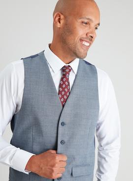 Blue Check Tailored Fit Waistcoat With Stretch