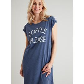 Navy Blue 'Coffee Please' Slogan Nightdress