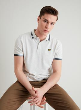 ADMIRAL Light Grey Marl & Navy Tipped Polo Shirt