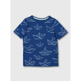 Blue Sailboat Print T-Shirt