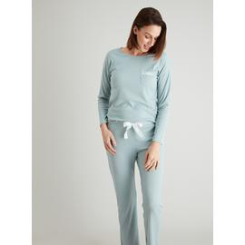 Duck Egg Blue Lace Trim Pyjama Top