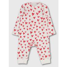 Red Heart Print Sleepsuit