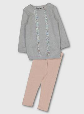 Grey & Pink Sweatshirt & Leggings