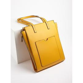 Mustard Yellow Faux Leather Tote Shopper Bag - One Size