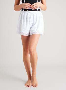 White Stretch Floral Lace Swim Short