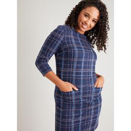 Navy Brushed Check Shift Dress