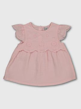 Pink Broderie Anglaise Lace Top