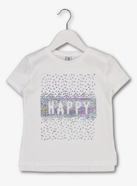 White 'Happy' Sequin T-Shirt