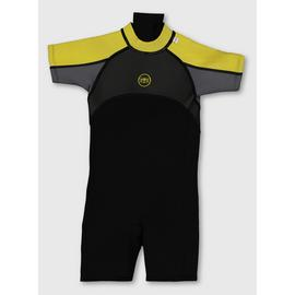 BANANA BITE Yellow & Grey Short Wetsuit