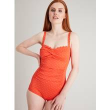 Secret Shaping Orange Spot Scallop Edge Low Leg Swimsuit