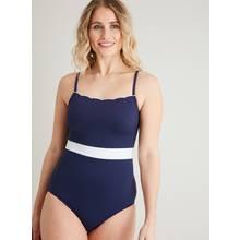 Navy Scallop Trim Classic Scuba Swimsuit